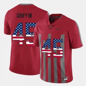 Scarlet US Flag Fashion For Men Archie Griffin OSU Jersey #45 558084-668