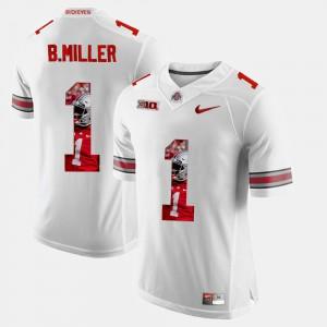 Pictorial Fashion White #1 Braxton Miller OSU Jersey For Men's 127691-846