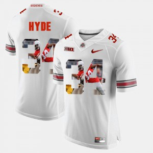Pictorial Fashion #34 White CameCarlos Hyde OSU Jersey For Men 388313-590