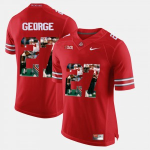 Pictorial Fashion For Men's Eddie George OSU Jersey Red #27 466522-960