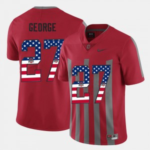 Men Eddie George OSU Jersey Scarlet #27 US Flag Fashion 277148-377