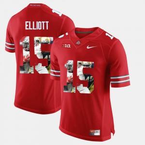 #15 Men Ezekiel Elliott OSU Jersey Pictorial Fashion Scarlet 668268-913
