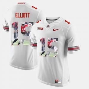 #15 Ezekiel Elliott OSU Jersey White For Men's Pictorial Fashion 894355-916