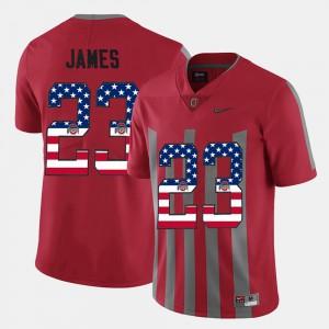 #23 For Men Scarlet US Flag Fashion Lebron James OSU Jersey 224086-187