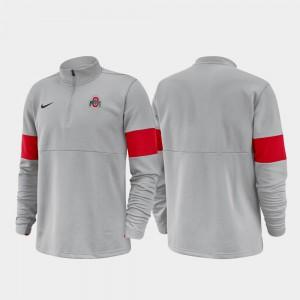 OSU Jacket 2019 Coaches Sideline Mens Half-Zip Performance Anthracite 128711-679