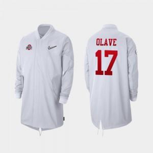 White For Men 2019 College Football Playoff Bound #17 Chris Olave OSU Jacket Full-Zip Sideline 360142-806