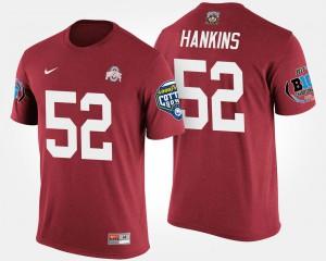 #52 Johnathan Hankins OSU T-Shirt For Men's Big Ten Conference Cotton Bowl Bowl Game Scarlet 338508-566