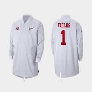 #1 Full-Zip Sideline Justin Fields OSU Jacket White Mens 2019 College Football Playoff Bound 496518-159