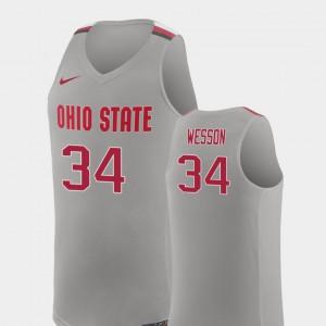 Pure Gray College Basketball #34 Replica Kaleb Wesson OSU Jersey Mens 501959-867