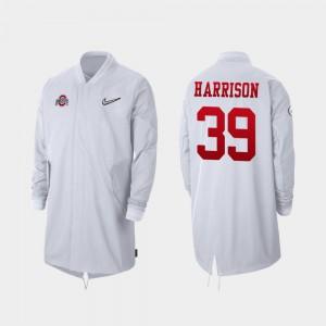 Full-Zip Sideline Men 2019 College Football Playoff Bound Malik Harrison OSU Jacket #39 White 275283-980