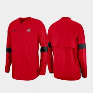 For Men Scarlet 2019 Coaches Sideline OSU Jacket Quarter-Zip 221010-614