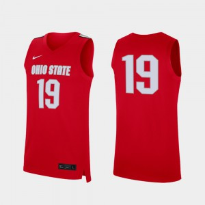 Replica College Basketball OSU Jersey #19 For Men's Scarlet 976268-661