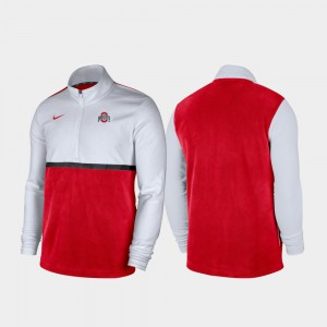 OSU Jacket Quarter-Zip Pullover Color Block For Men's White Scarlet 698136-802
