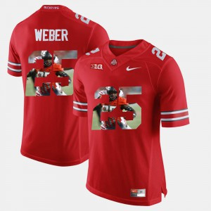 Mike Weber OSU Jersey Mens Scarlet #25 Pictorial Fashion 674312-779