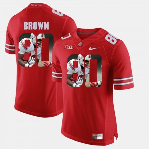 Pictorial Fashion Noah Brown OSU Jersey Men #80 Scarlet 670316-468