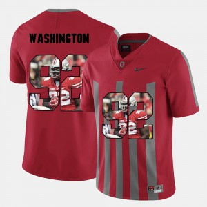 Men's Adolphus Washington OSU Jersey Red #92 Pictorial Fashion 579800-143