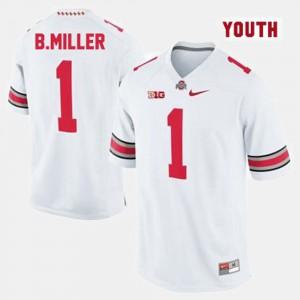 White #1 College Football Braxton Miller OSU Jersey For Kids 278007-783