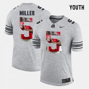 #5 Braxton Miller OSU Jersey Pictorial Gridiron Fashion Gray Pictorital Gridiron Fashion Kids 841223-577
