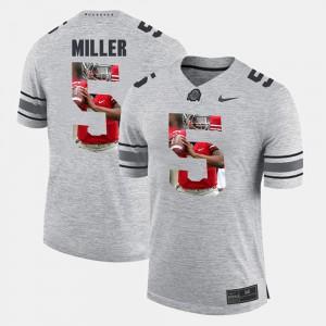 Braxton Miller OSU Jersey #5 Pictorial Gridiron Fashion For Men's Pictorital Gridiron Fashion Gray 479682-223
