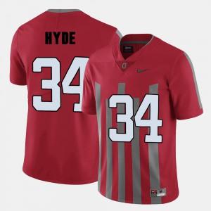 Men's CameCarlos Hyde OSU Jersey Red #34 College Football 601189-903