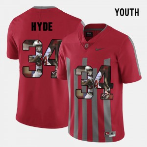 CameCarlos Hyde OSU Jersey #34 Pictorial Fashion Youth Red 446380-689