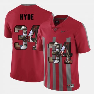 #34 For Men CameCarlos Hyde OSU Jersey Pictorial Fashion Red 308647-406