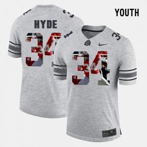 #34 Youth(Kids) CameCarlos Hyde OSU Jersey Pictorital Gridiron Fashion Gray Pictorial Gridiron Fashion 759678-296