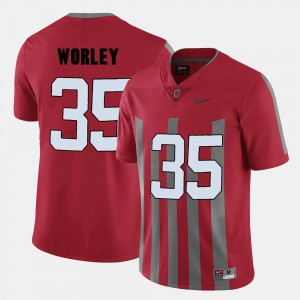 Red College Football For Men's #35 Chris Worley OSU Jersey 393239-781