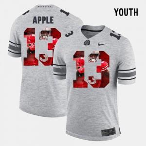 #13 Pictorital Gridiron Fashion Youth Eli Apple OSU Jersey Pictorial Gridiron Fashion Gray 317093-393