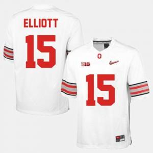 College Football Mens #15 White Ezekiel Elliott OSU Jersey 330136-594