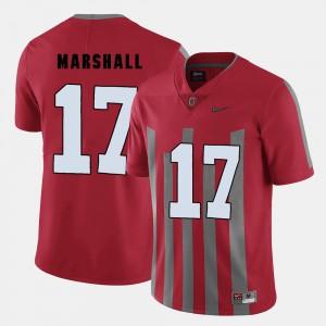 Red College Football Men Jalin Marshall OSU Jersey #17 143807-795