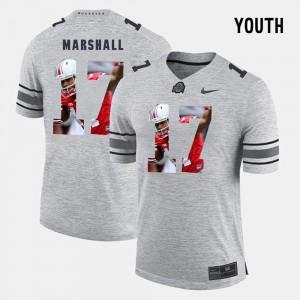 Gray #17 Pictorital Gridiron Fashion Youth(Kids) Pictorial Gridiron Fashion Jalin Marshall OSU Jersey 948528-834