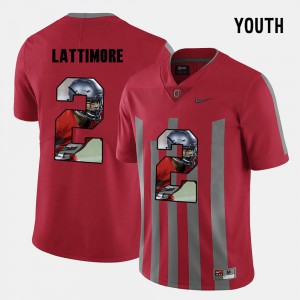 Marshon Lattimore OSU Jersey #2 Pictorial Fashion Red Youth(Kids) 322244-731