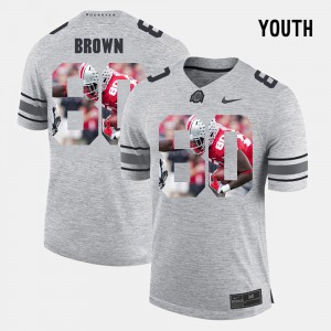 Noah Brown OSU Jersey Pictorital Gridiron Fashion Gray #80 Pictorial Gridiron Fashion For Kids 551930-459