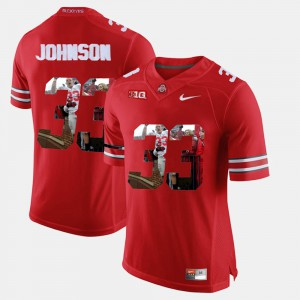 Pictorial Fashion Mens #33 Scarlet Pete Johnson OSU Jersey 658218-511