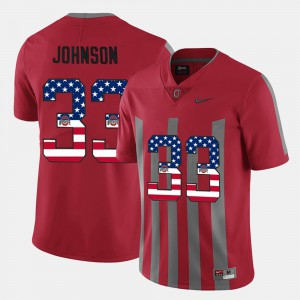 #33 US Flag Fashion Scarlet Pete Johnson OSU Jersey Men 252896-887
