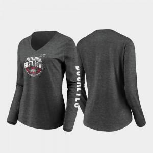 Womens 2019 Fiesta Bowl Bound Heather Charcoal Stiff Arm Long Sleeve V-Neck OSU T-Shirt 537702-675