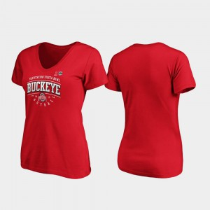 For Women's OSU T-Shirt 2019 Fiesta Bowl Bound Scarlet Tackle V-Neck 422527-917