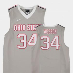 College Basketball Gray For Kids Kaleb Wesson OSU Jersey #34 Replica 145646-787