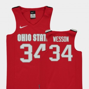 Red Kaleb Wesson OSU Jersey College Basketball #34 Replica Youth 484615-899