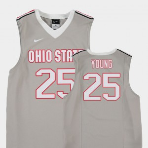 #25 Kyle Young OSU Jersey Gray College Basketball For Kids Replica 137748-880